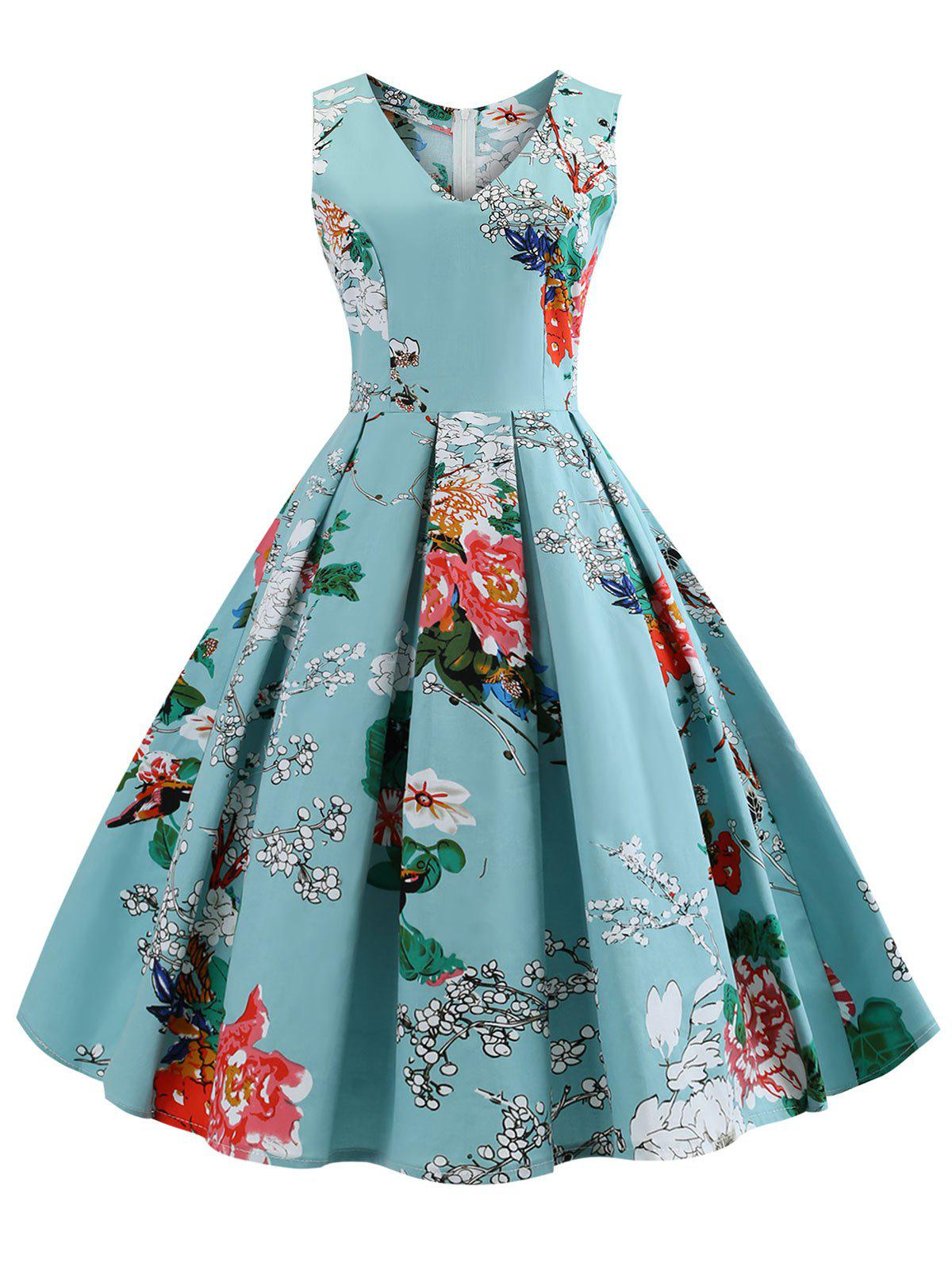 Plus Size V Neck Floral Vintage Dress - MEDIUM TURQUOISE 2X
