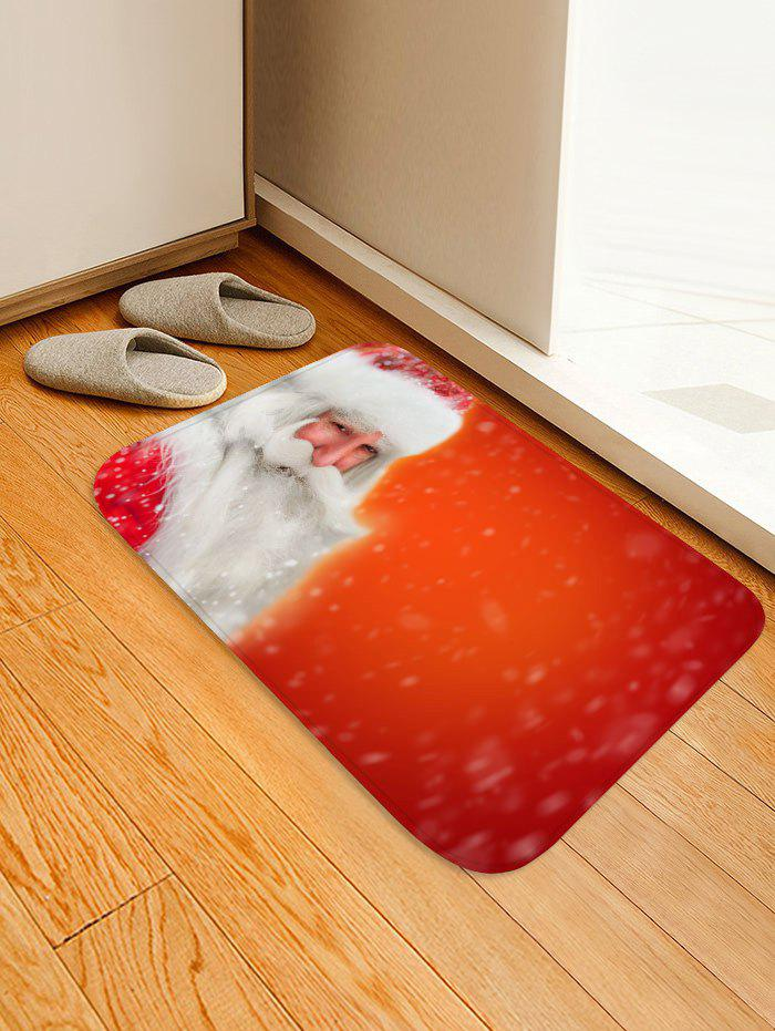 Father Christmas Print Decorative Flannel Bath Mat - ROSSO RED W16 X L24 INCH