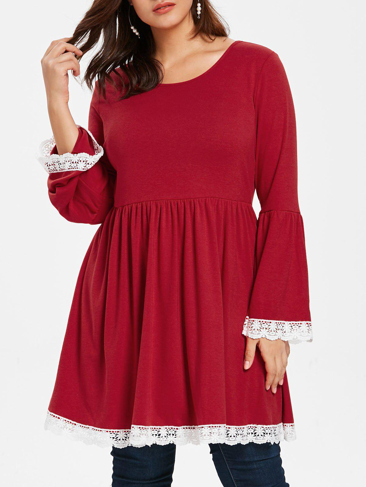 Plus Size Flare Sleeve Lace Trim Peplum Tee - RED WINE 4X