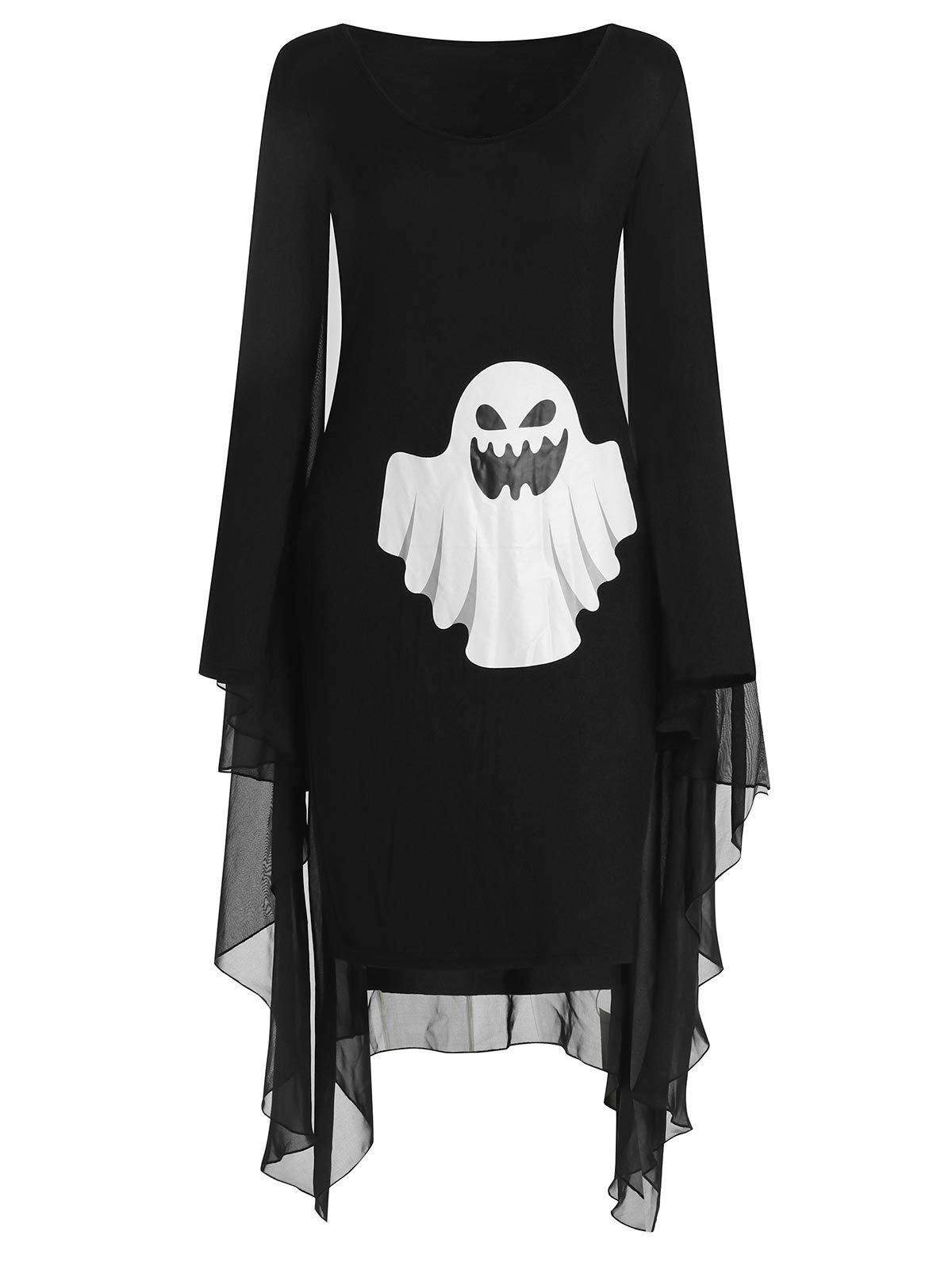 Ghost Print Halloween Cape Dress