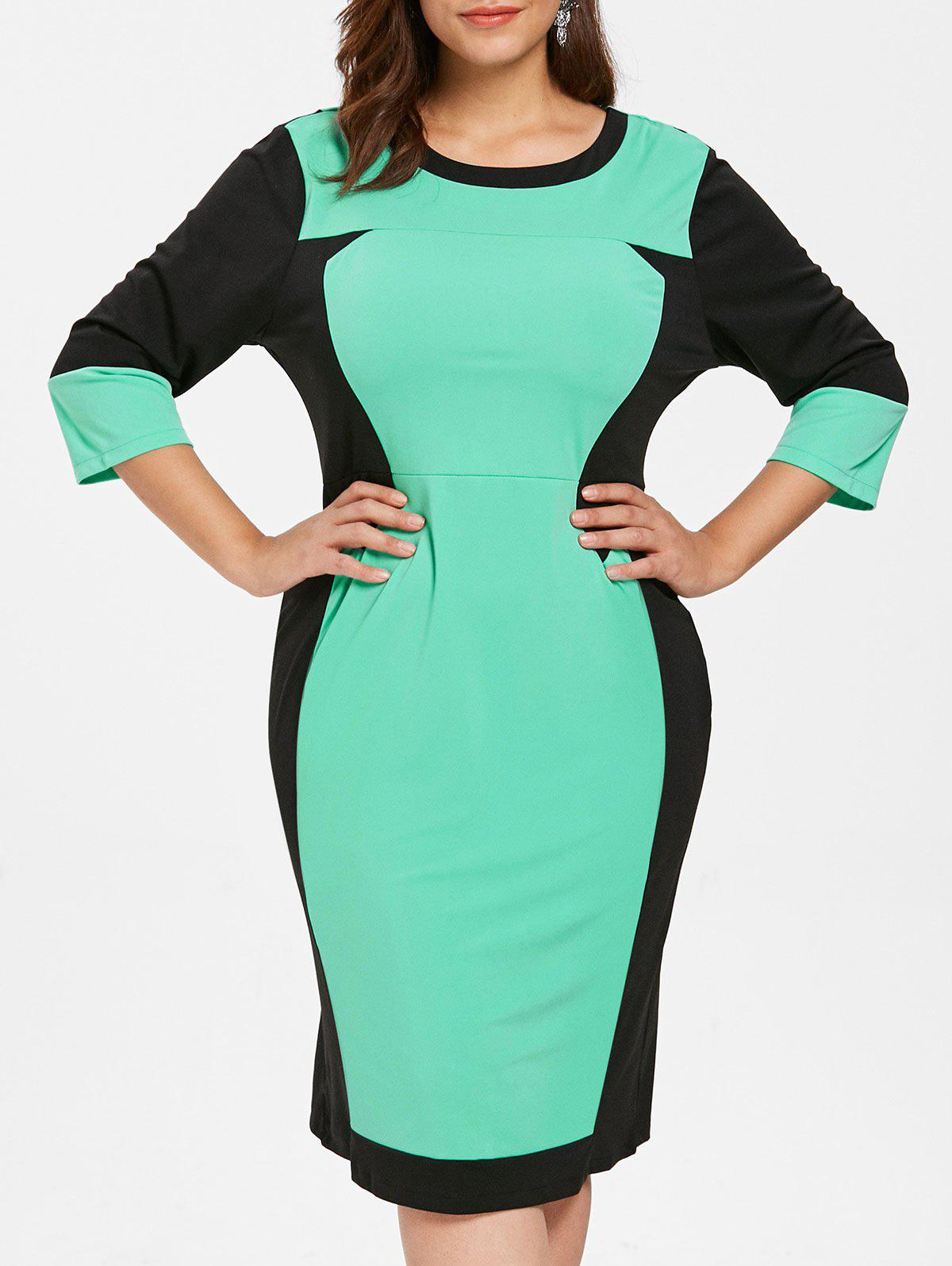 Plus Size Color Block Fitted Bodycon Dress - AQUAMARINE 2X