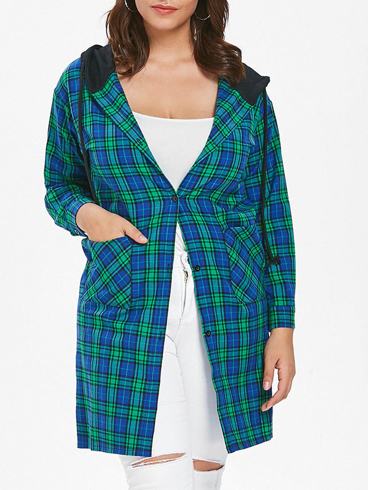 Plus Size Casual Plaid Coat - MACAW BLUE GREEN 1X
