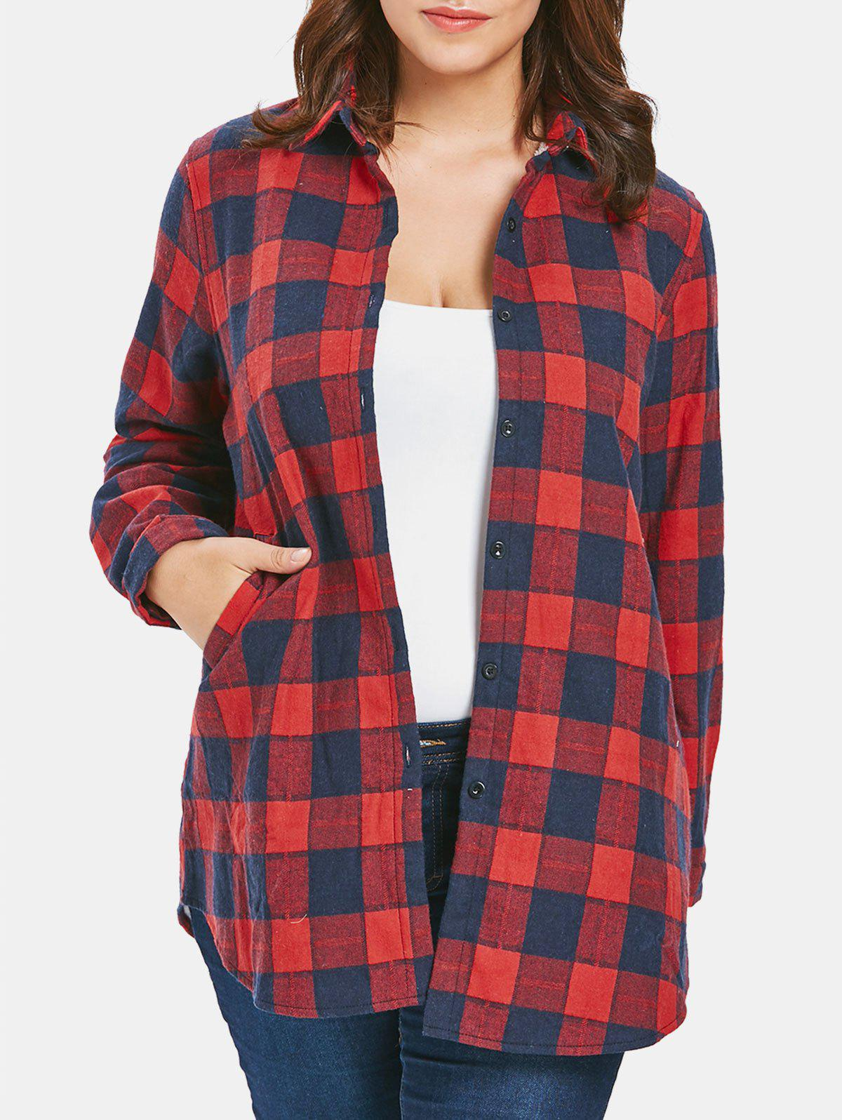 Plus Size Button Up Plaid Coat