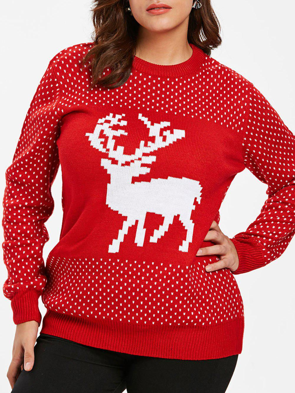 Round Neck Christmas Elk Print Plus Size Sweater - RED L