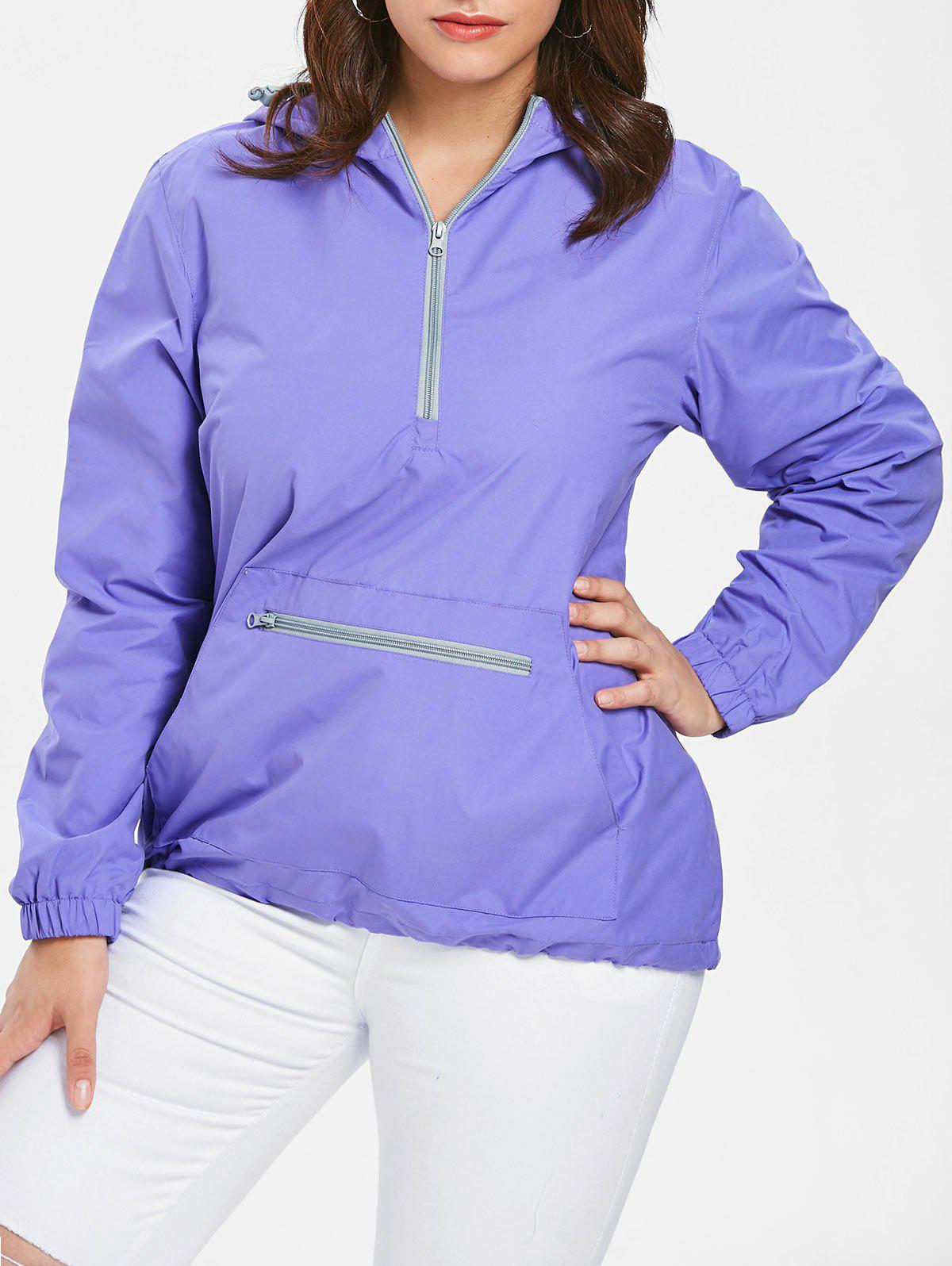 Plus Size Kangaroo Pocket Hooded Hoodie - PURPLE 1X
