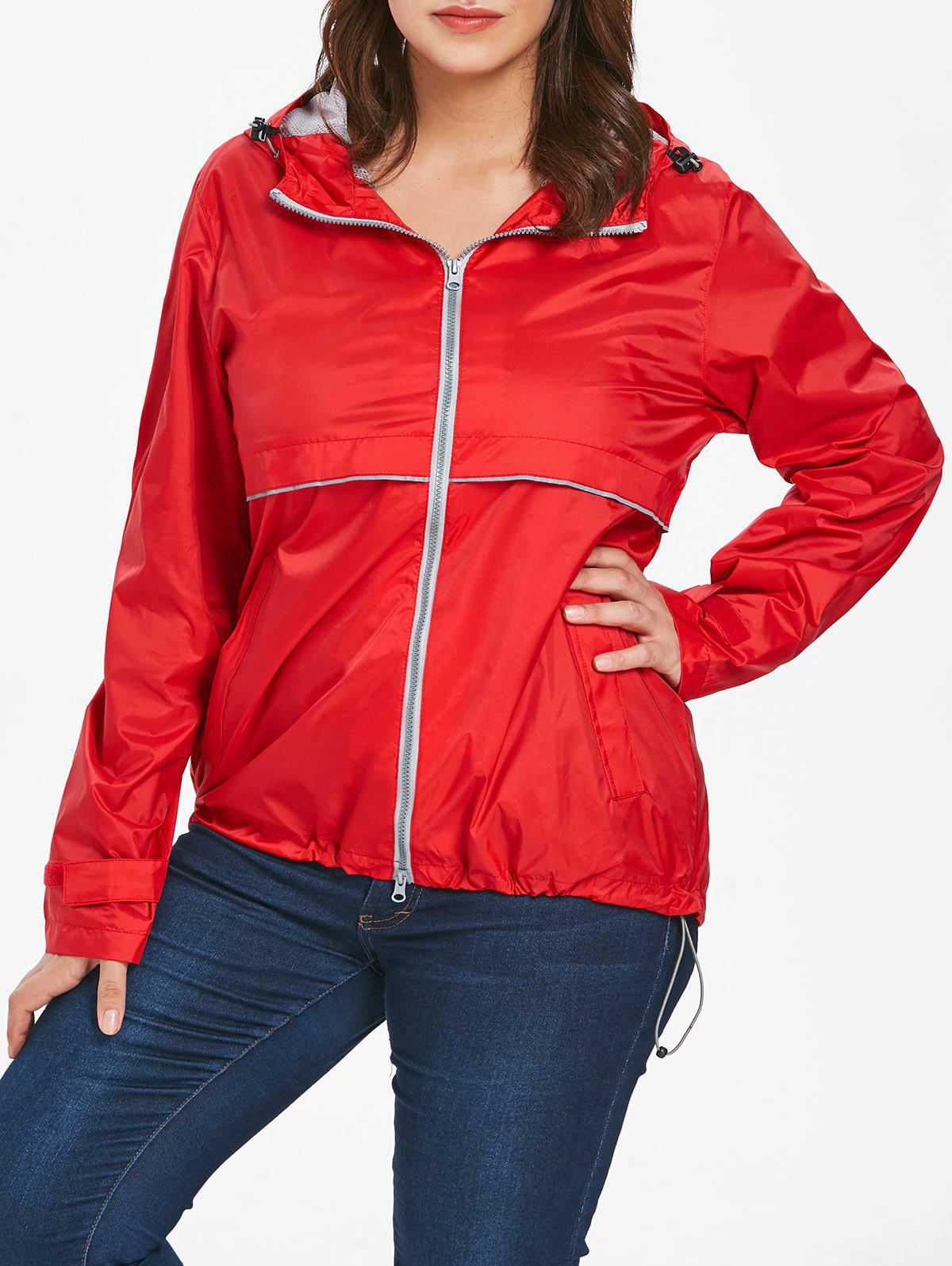 Plus Size Hooded Lightweight Zip-Up Jacket - RED 1X