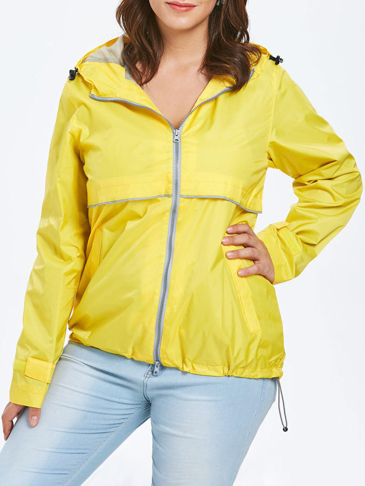Plus Size Hooded Lightweight Zip-Up Jacket - YELLOW 1X