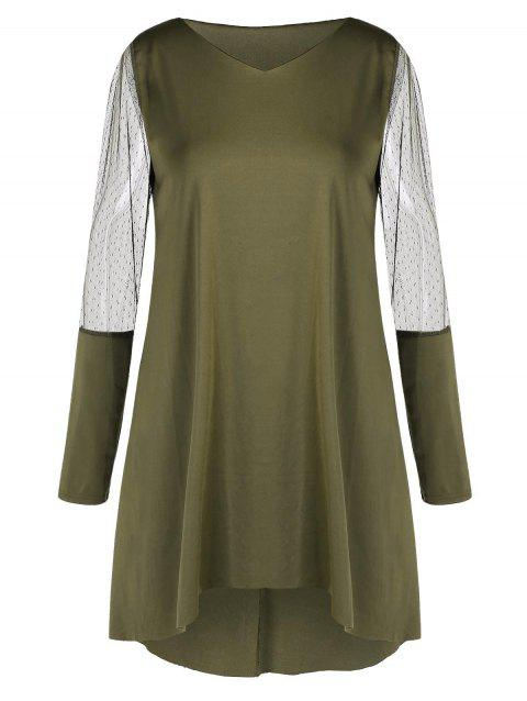 Plus Size High Low Dress with Mesh Panel - ARMY GREEN L