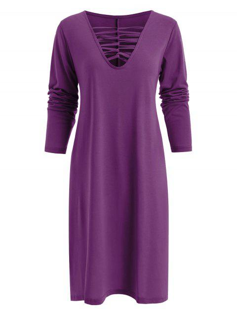 Lace Up Long Sleeve Tee Dress - VIOLET L