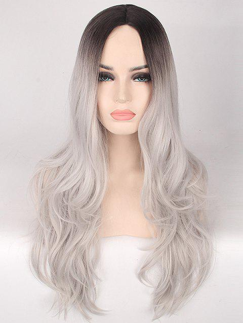 Middle Part Long Slightly Curly Ombre Synthetic Wig - PLATINUM