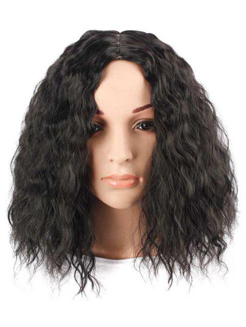 Center Parting Short Water Wave Synthetic Wig - GRAPHITE BLACK