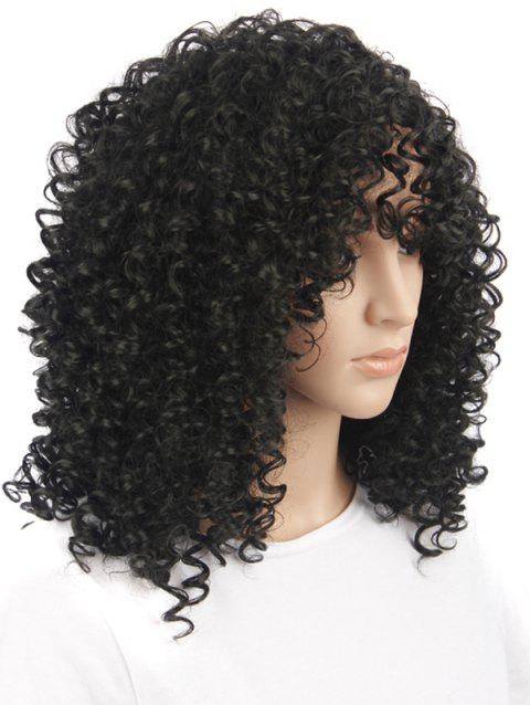 Medium See-through Fringe Afro Kinky Curly Synthetic Wig - BLACK