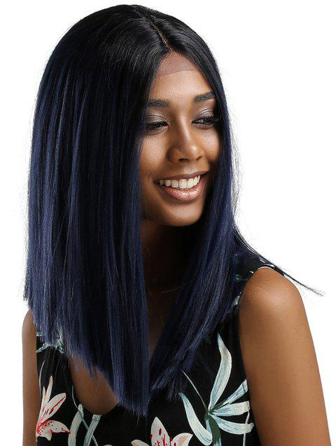 Medium Center Parting Ombre Straight Party Synthetic Lace Front Wig - multicolor D