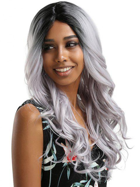 Middle Part Long Party Colormix Wavy Synthetic Wig - multicolor B
