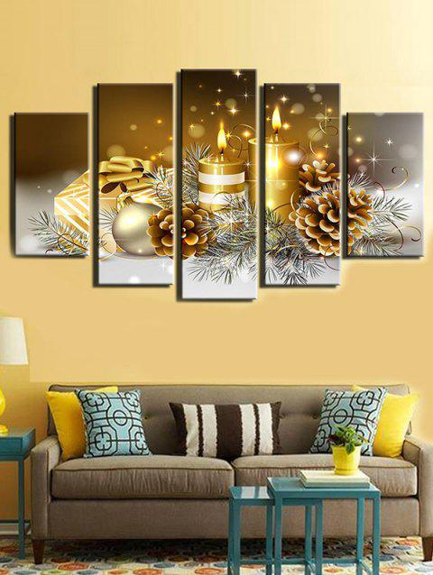 Christmas Candle Balls Print Unframed Canvas Paintings - multicolor 1PC X 8 X 22,2PCS X 8 X 14,2PCS X 8 X 18INCH( NO F