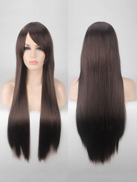 Long Side Bang Straight Colorful Party Carnival Synthetic Wig - DEEP BROWN