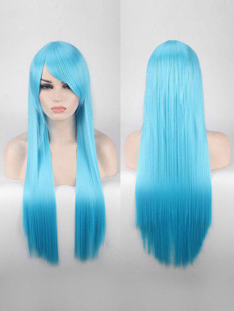 Long Side Bang Straight Colorful Party Carnival Synthetic Wig - SKY BLUE