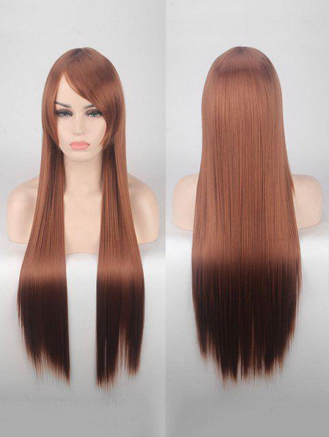 Long Side Bang Straight Colorful Party Carnival Synthetic Wig - BROWN