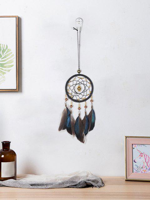 Handmade Beads Feathers Fringed Dream Catcher - multicolor