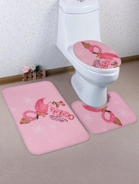 Christmas Flamingo Print 3 Pcs Bathroom Toilet Mat - multicolor