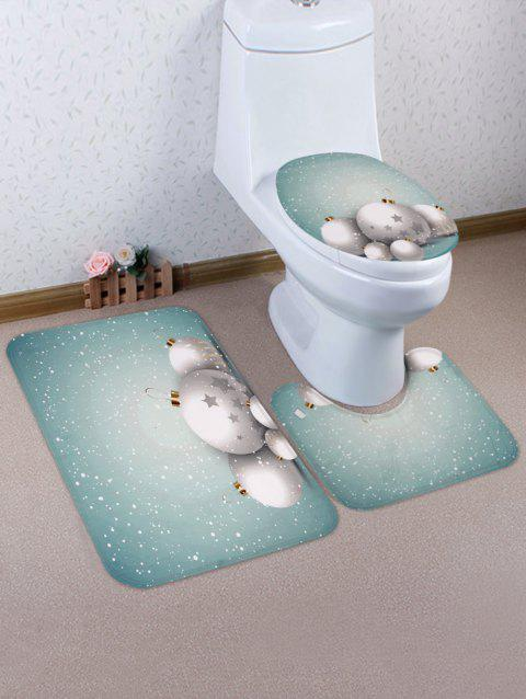 Christmas Ball Star Printed 3 Pcs Bathroom Toilet Mat - multicolor