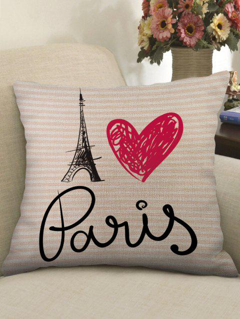Love Heart Tower Printed Linen Throw Pillow Case - multicolor W18 X L18 INCH