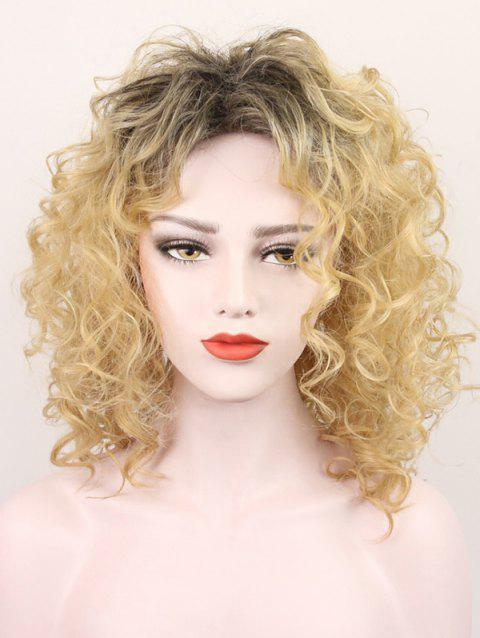 Inclined Bang Colormix Medium Curly Synthetic Wig - SUN YELLOW