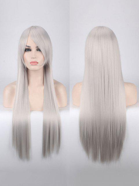 Long Side Bang Straight Colorful Party Carnival Synthetic Wig - PLATINUM