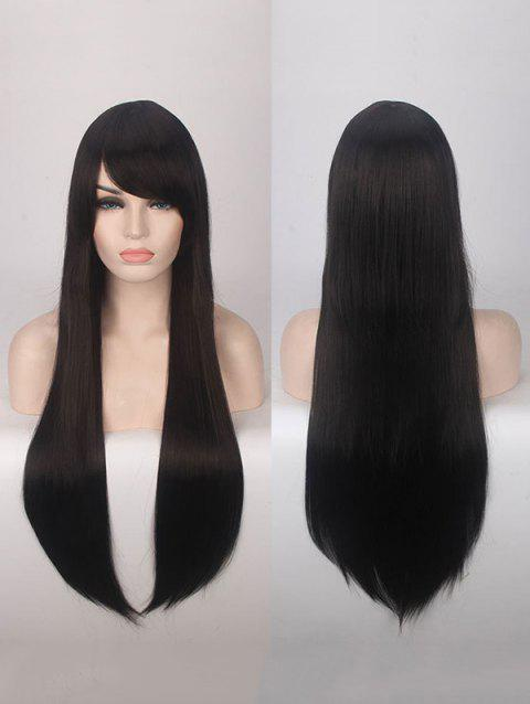Long Side Bang Straight Colorful Party Carnival Synthetic Wig - BLACK