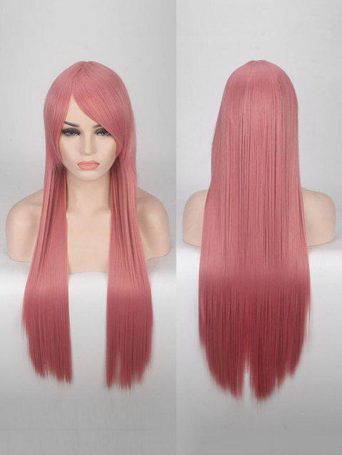 Long Side Bang Straight Colorful Party Carnival Synthetic Wig - PALE VIOLET RED