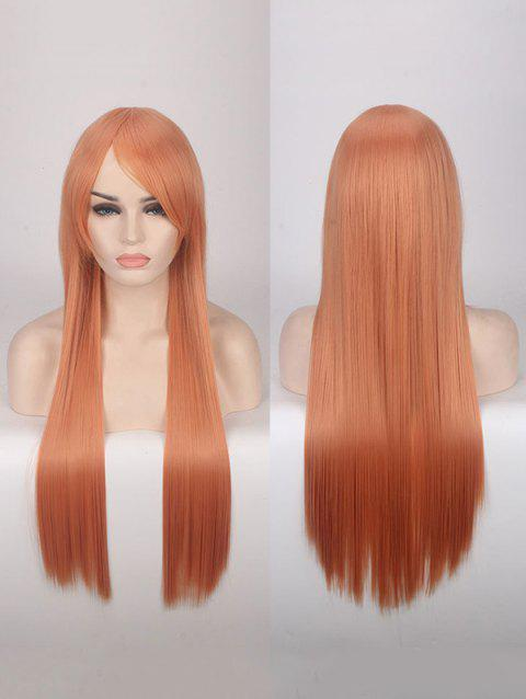 Long Side Bang Straight Colorful Party Carnival Synthetic Wig - DARK ORANGE