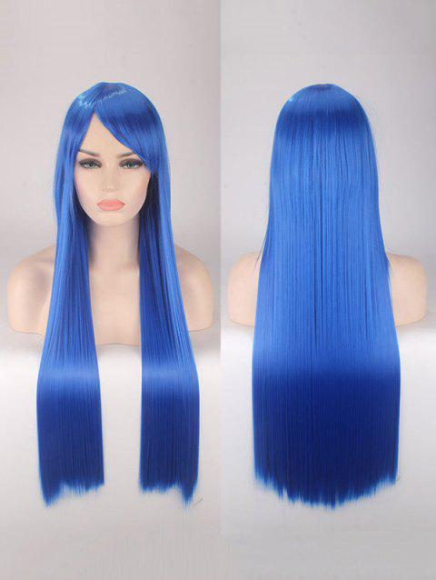 Long Side Bang Straight Colorful Party Carnival Synthetic Wig - OCEAN BLUE