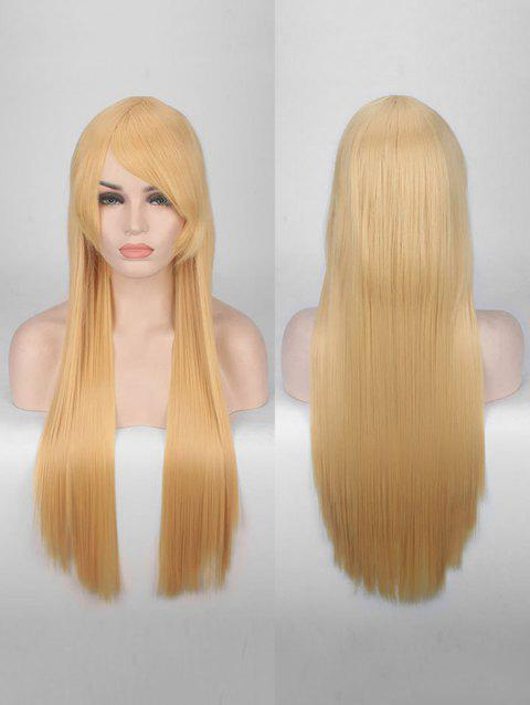 Long Side Bang Straight Colorful Party Carnival Synthetic Wig - BEE YELLOW