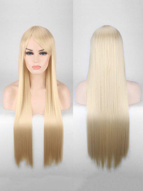 Long Side Bang Straight Colorful Party Carnival Synthetic Wig - APRICOT