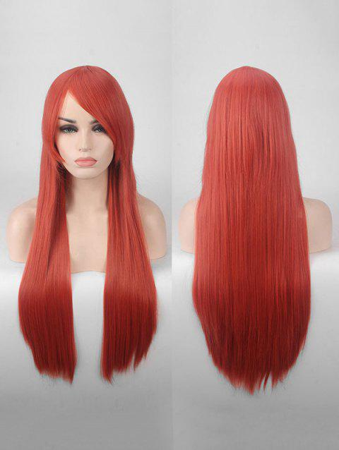 Long Side Bang Straight Colorful Party Carnival Synthetic Wig - LAVA RED
