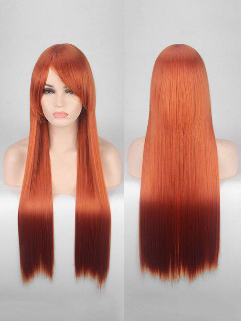 Long Side Bang Straight Colorful Party Carnival Synthetic Wig - CHERRY RED