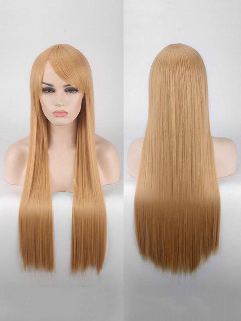 Long Side Bang Straight Colorful Party Carnival Synthetic Wig - CARAMEL