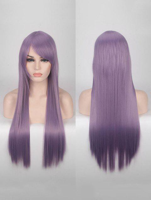 Long Side Bang Straight Colorful Party Carnival Synthetic Wig - CROCUS PURPLE