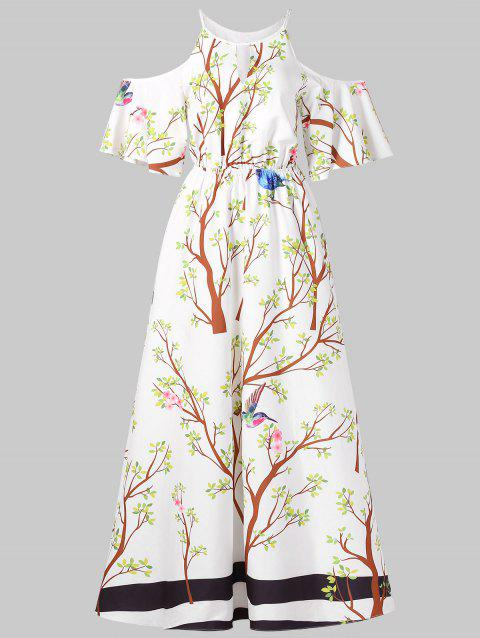 Branch Print Cold Shoulder Maxi Dress - WHITE M