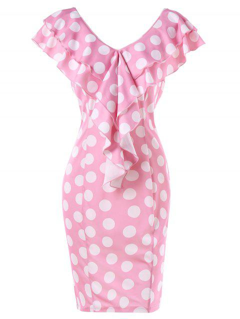 Backless Ruffled Trim Polka Dot Dress - PINK 2XL