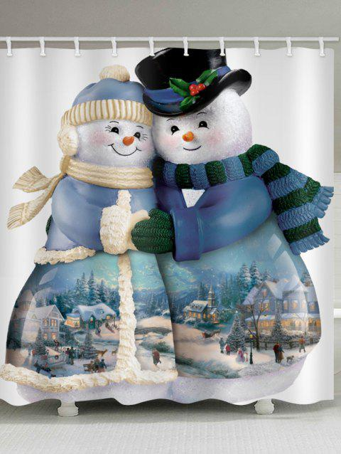 Christmas Snowman Couple Print Waterproof Shower Curtain - multicolor W59 X L71 INCH