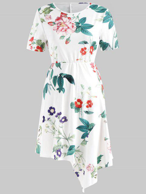 Floral Print Asymmetric Dress - WHITE XL