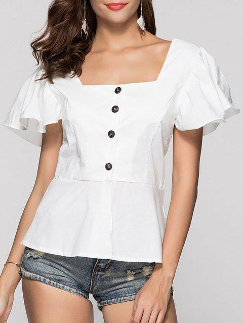 Square Collar Peplum Blouse - WHITE L