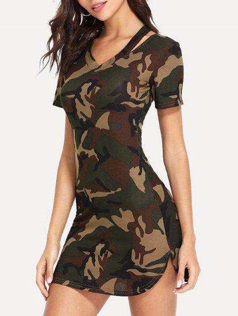 Camouflage Print Curved Mini Dress - CAMOUFLAGE GREEN M
