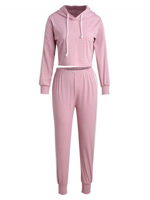 Color Trim Sports Crop Hoodie and Pants - PINK S