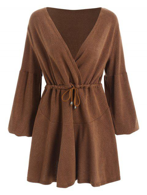 Plunging Neckline Puff Sleeve Knit Dress - BROWN L