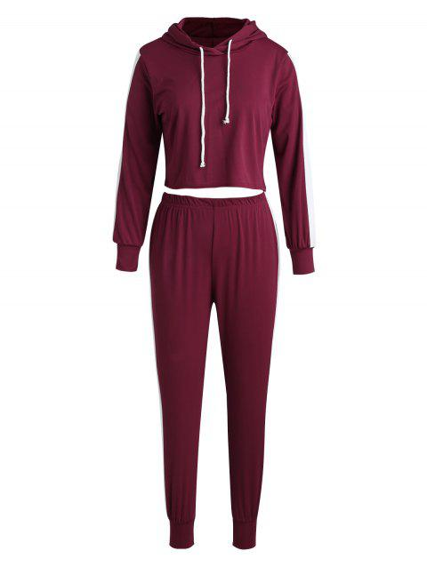Color Trim Sports Crop Hoodie and Pants - RED WINE S