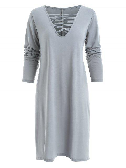 Lace Up Long Sleeve Tee Dress - GRAY M