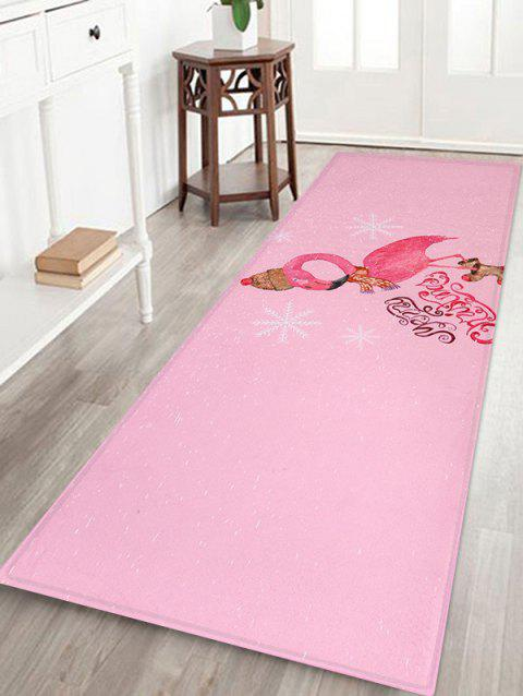 Christmas Flamingo Print Decorative Bath Mat - multicolor W16 X L47 INCH