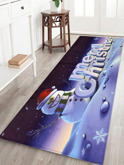 Merry Christmas Snowman Print Decorative Bath Mat - multicolor W16 X L47 INCH